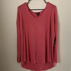 NWT A.n.a Rose Colored Ribbed LS Shirt XXL